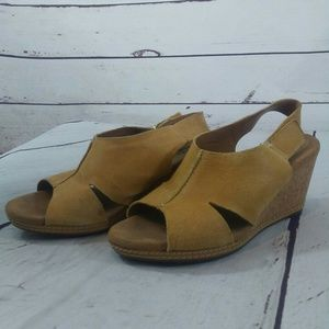 Clarks peep toe wedges size 7